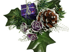 Kerst toef met pakje 10cm+12cm draad paars