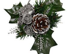 Kerst toef met pakje 10cm+12cm draad zilver