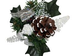 Kerst toef met pakje 10cm+12cm draad wit