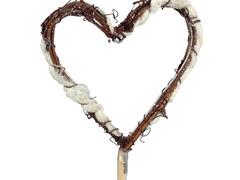 Bijsteker Hart rattan/wol 10cm+50cm stok wit