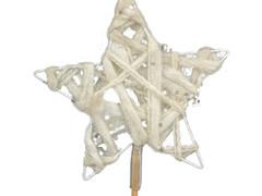 Bijsteker Ster wol+glitter 12,5cm+50cm stok wit