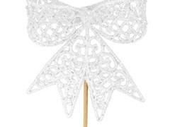 Bijsteker Strik 8,5cm+50cm stok glitter wit