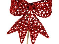 Bijsteker Strik 8,5cm+50cm stok glitter rood