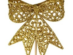 Bijsteker Strik 8,5cm+50cm stok glitter goud