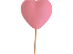 Bijsteker Hart vilt 6cm+50cm stok roze