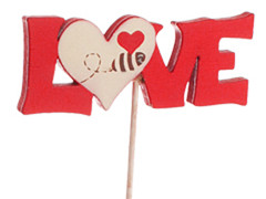 Bijsteker Love + hart 6,5x2,5cm+50cm stok rood/wit