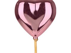 Bijsteker Hart glans 6,5cm+12cm stok roze