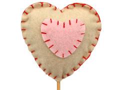 Bijsteker Hart vilt 7cm+50cm stok naturel/roze