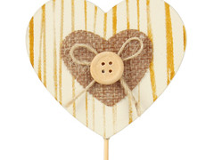 Bijsteker naturel hart 6x7cm hout+50cm stok