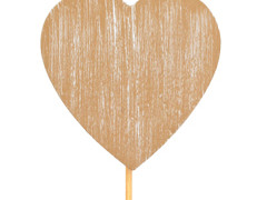 Bijsteker Hart hout 7cm+50cm stok whitewash