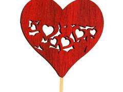 Bijsteker heart full hout 7,5x7,5cm+50cm stok rood