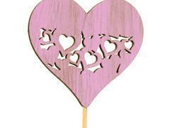 Bijsteker heart full hout 7,5x7,5cm+50cm stok roze