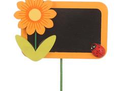 Bijsteker Krijtbord 8x5,5cm+50cm stok oranje