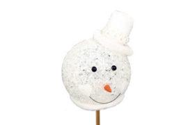 Bijsteker Sneeuwpop hoofd/licht 8cm+50cm stok wit
